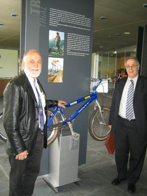Pere Pi in front of his bike in the seat of U.C.I.